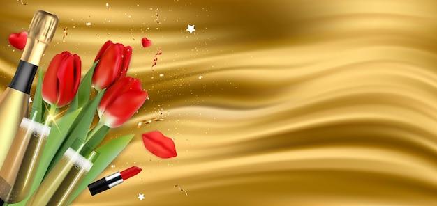 Fundo de parabéns do feriado do golden silk happy womens day com tulipas vermelhas e champanhe Vetor Premium