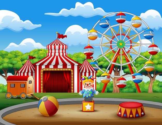 Fundo de parque de diversões na natureza Vetor Premium