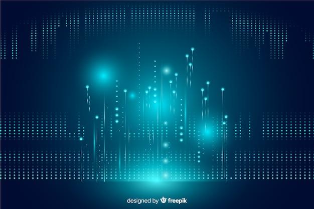 Fundo de partículas caindo de tecnologia brilhante Vetor grátis
