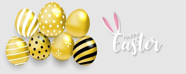 Fundo de páscoa feliz. ovos de ouro Vetor Premium