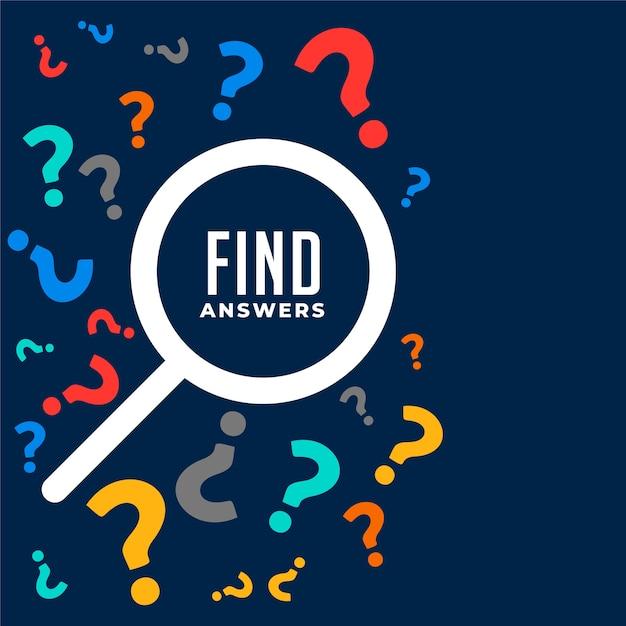 Fundo de perguntas e respostas com símbolo de pesquisa Vetor grátis