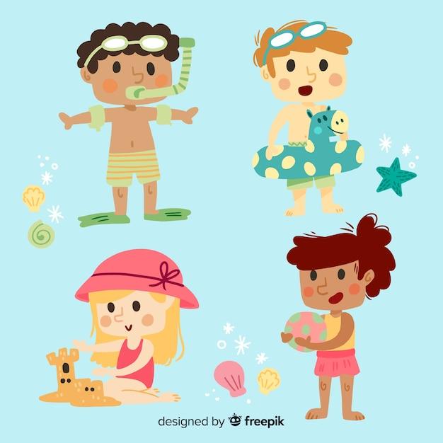 Fundo de personagens do dia das crianças Vetor grátis