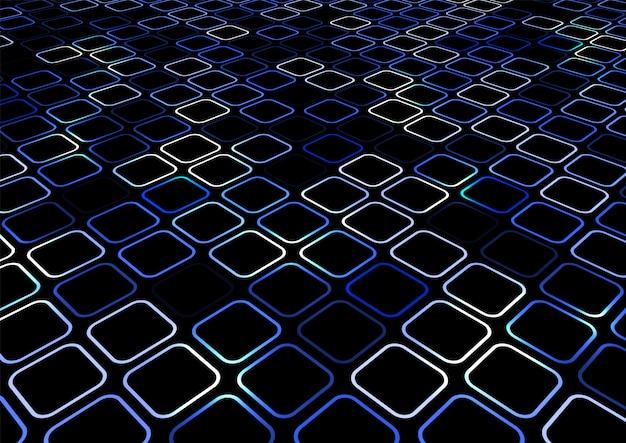 Fundo de perspectiva abstrata borda quadrada azul Vetor Premium