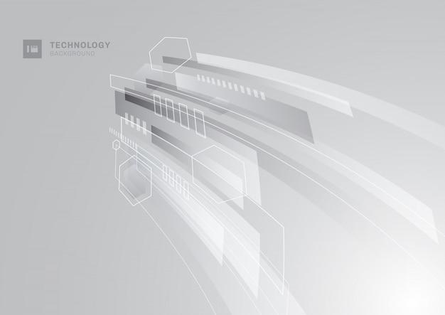 Fundo de perspectiva geométrica cinza tecnologia abstrata. Vetor Premium