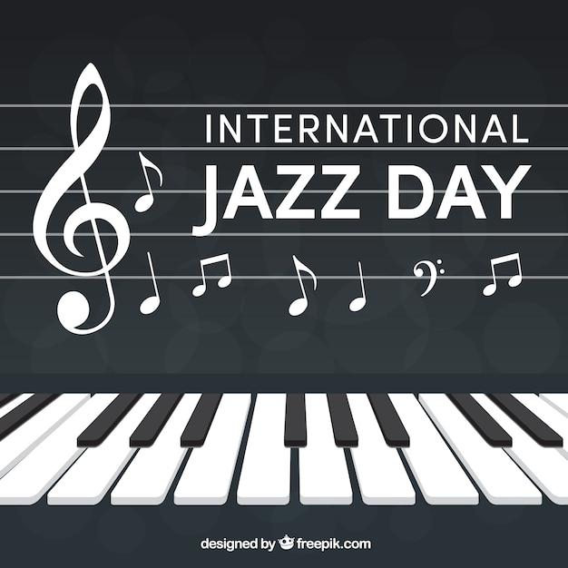 Fundo de piano com notas musicais Vetor grátis