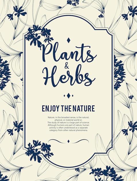 Fundo de plantas e ervas. elemento para cartão de design ou convite Vetor grátis