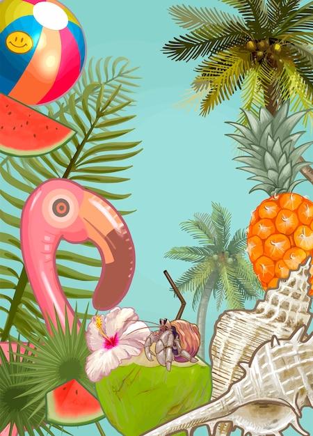 Fundo de plantas e frutas tropicais Vetor grátis