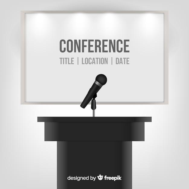 Fundo de pódio de conferência realista Vetor grátis