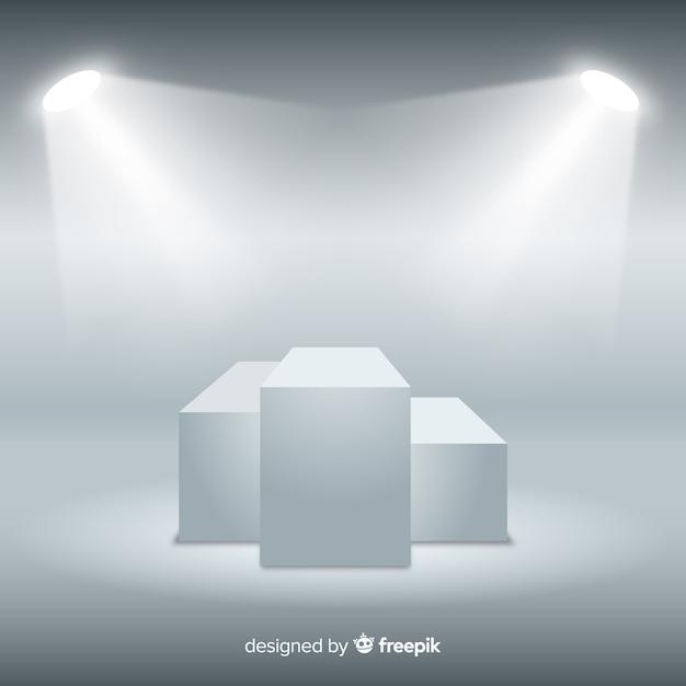 Fundo de pódio de palco no quarto branco com iluminação Vetor grátis
