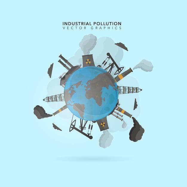 Fundo de poluição industrial Vetor Premium