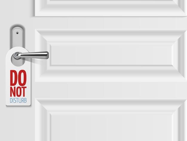 Fundo de porta branca com maçaneta metálica com placa de plástico Vetor Premium