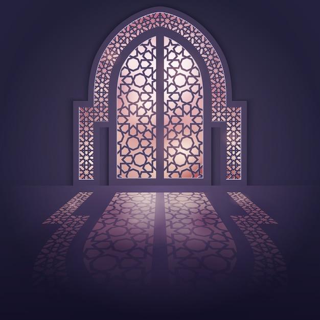 Fundo de porta de mesquita de fundo design islâmico Vetor Premium