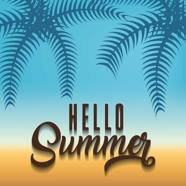 Fundo de praia com olá frase de verão Vetor Premium