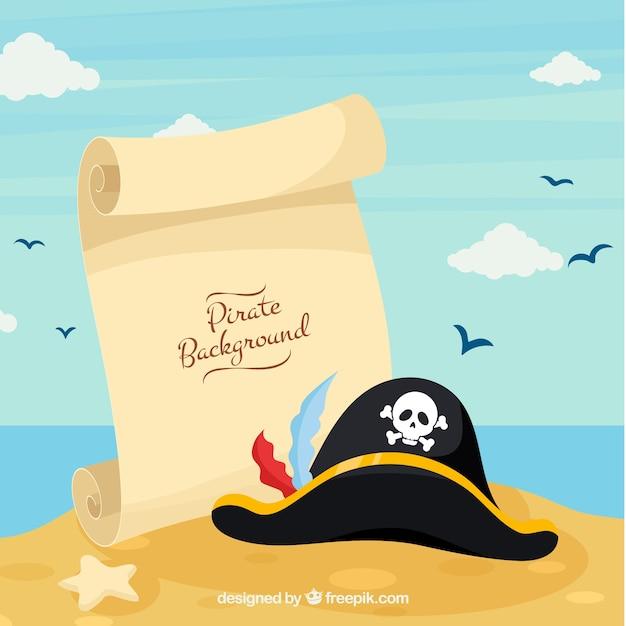 Fundo de praia com pergaminho com chapéu Vetor grátis
