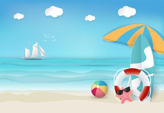 Fundo de praia de férias de verão Vetor Premium