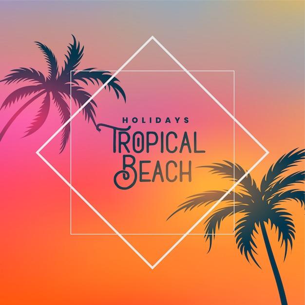 Fundo de praia tropical com palmeiras Vetor grátis