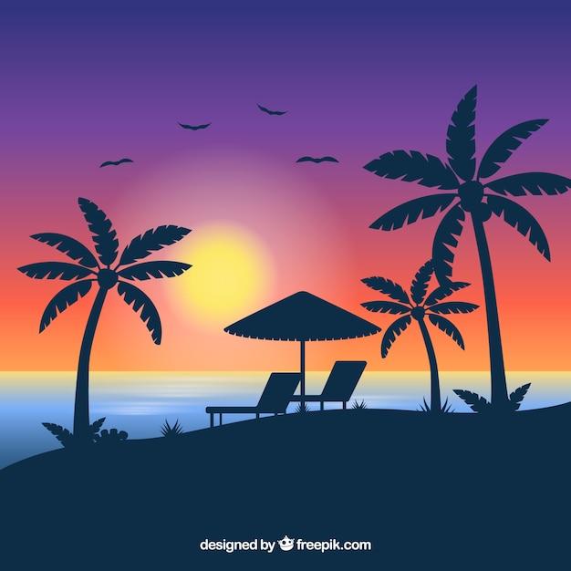 Fundo de praia tropical com pôr do sol Vetor grátis