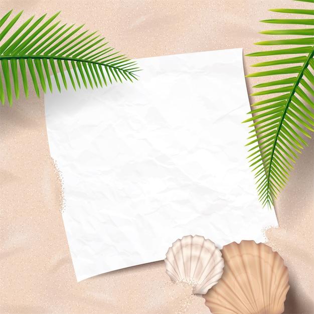 Fundo de praia verão com paz de papel deitado na areia Vetor Premium