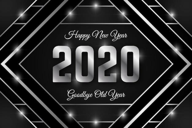 Fundo de prata ano novo 2020 Vetor grátis