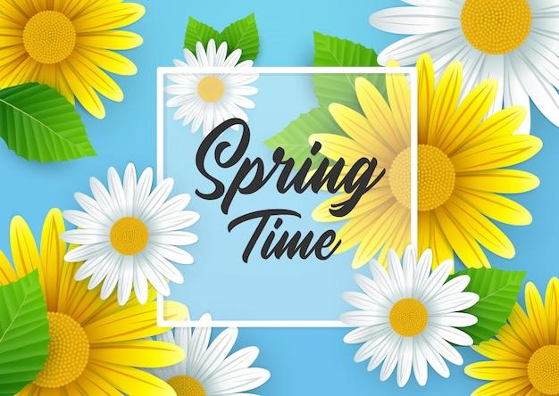 Fundo de primavera com lindas flores Vetor Premium