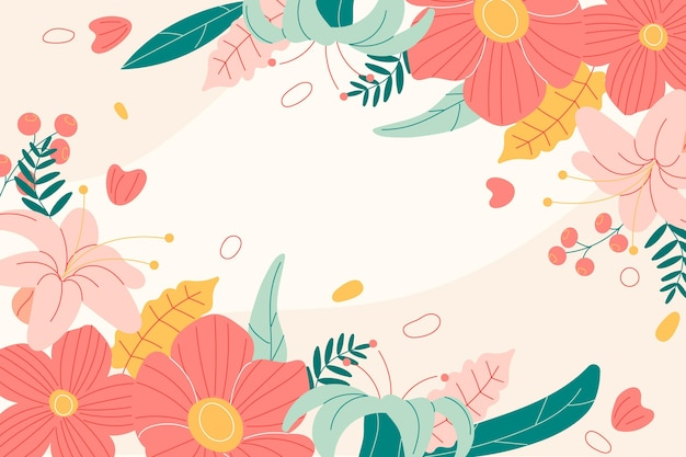 Fundo de primavera desenhado à mão com flores Vetor grátis