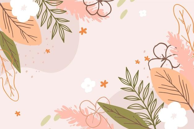 Fundo de primavera desenhado com flores Vetor grátis