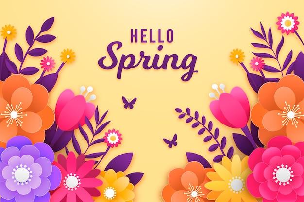 Fundo de primavera em estilo de papel colorido Vetor grátis
