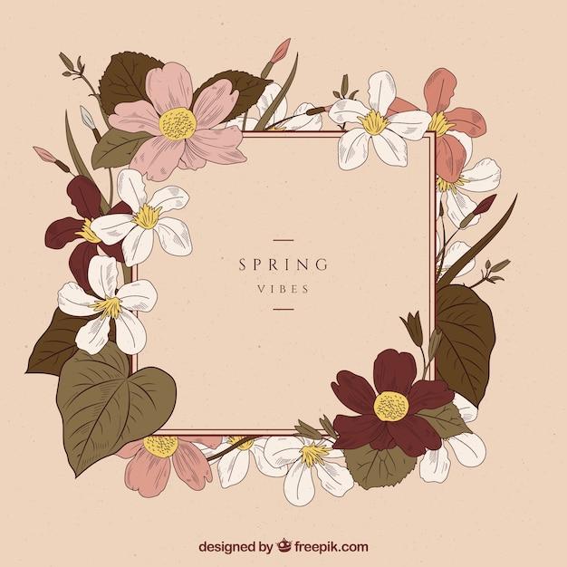 Fundo de primavera em estilo vintage Vetor grátis