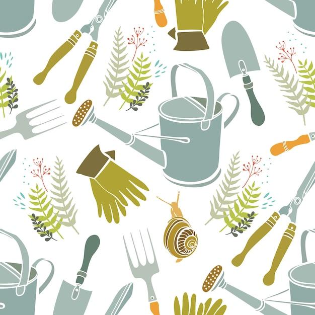 Fundo de primavera, ferramentas de jardinagem e caracóis Vetor grátis