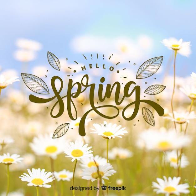 Fundo de primavera olá fotográfico Vetor grátis