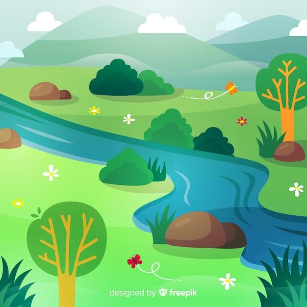 Fundo de primavera rio desenhado mão Vetor grátis