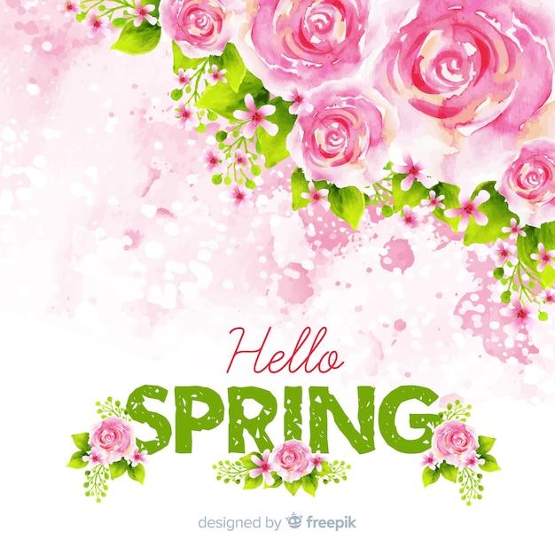 Fundo de primavera rosas aquarela Vetor grátis