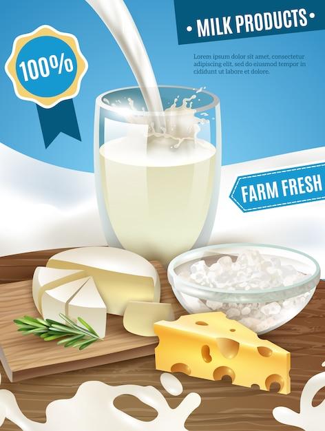 Fundo de produtos lácteos Vetor grátis