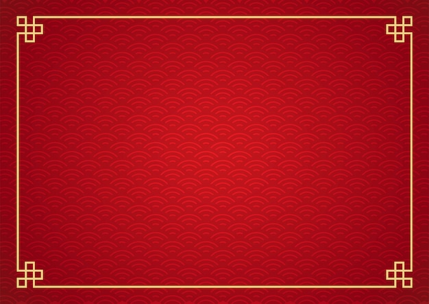 Fundo de quadro chinês. cor vermelha e dourada. Vetor Premium