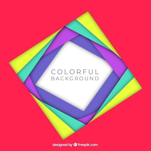Fundo de quadro colorido e plano Vetor grátis