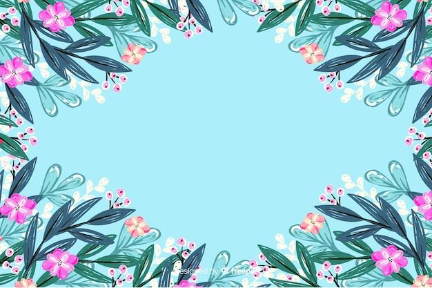 Fundo de quadro colorido pintado flores Vetor grátis
