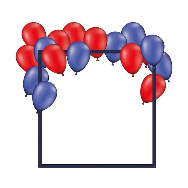 Fundo de quadro com balões vermelhos e azuis isolados Vetor Premium