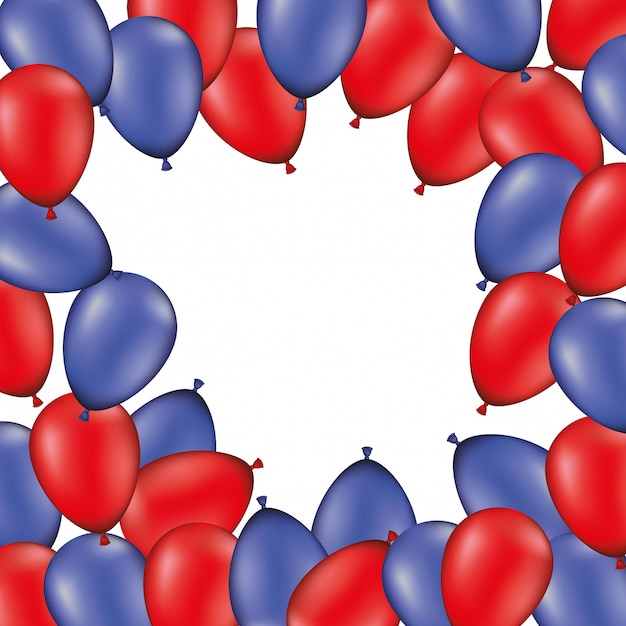 Fundo de quadro com balões vermelhos e azuis Vetor Premium