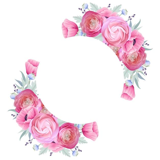 Fundo de quadro com ranúnculo floral e flores de papoula Vetor Premium