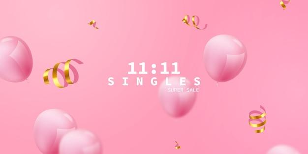 Fundo de quadro de celebração rosa balões. confete de ouro reluz para cartaz de evento e feriado. super venda de solteiros Vetor Premium