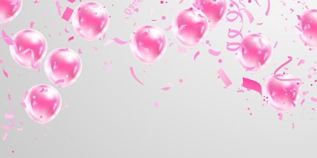 Fundo de quadro de celebração rosa balões. confete ouro reluz para cartaz de evento e feriado. Vetor Premium