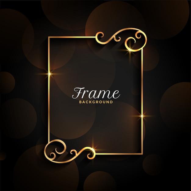 Fundo de quadro de convite floral dourado lindo Vetor grátis