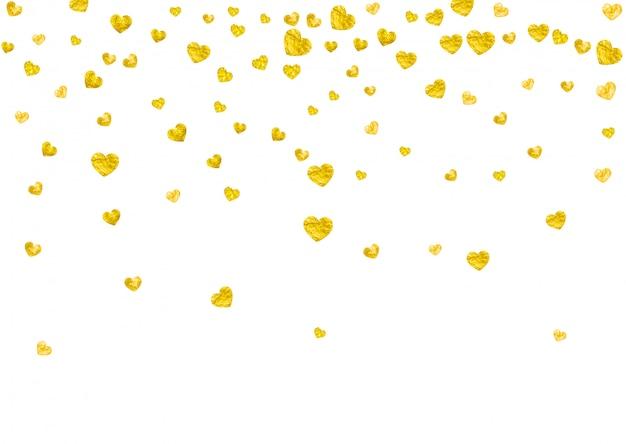 Fundo de quadro de coração com corações de glitter dourados. Vetor Premium