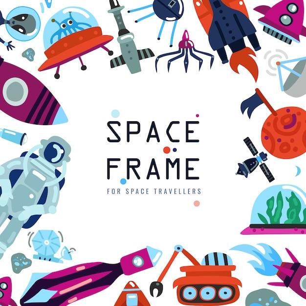 Fundo de quadro de espaço plano Vetor grátis