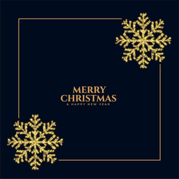 Fundo de quadro de floco de neve brilhante com glitter de feliz natal Vetor grátis