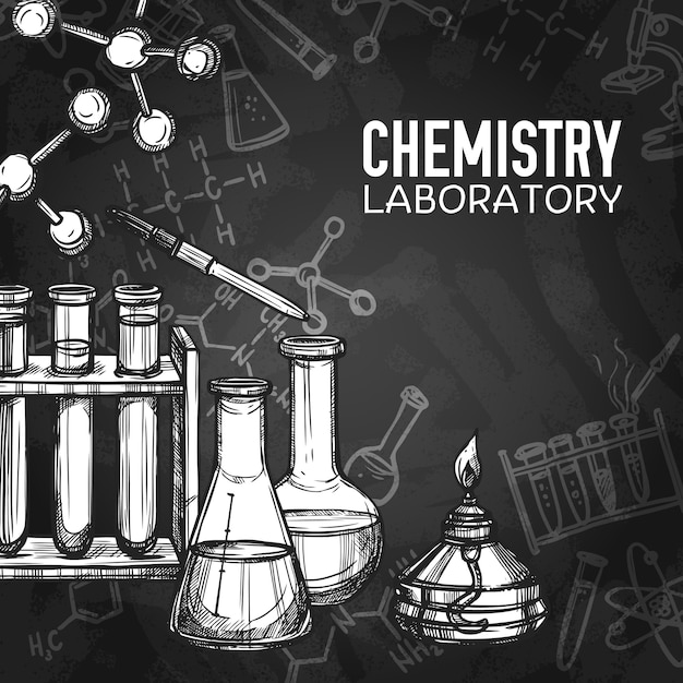 Fundo de quadro de laboratório de química Vetor grátis