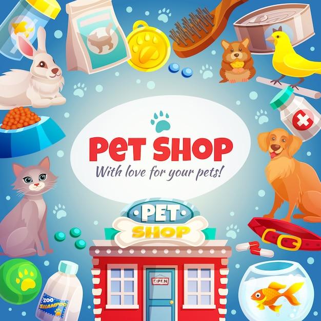 Fundo de quadro de loja de animais Vetor grátis