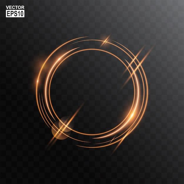 Fundo de quadro de luz de círculo de ouro abstrato Vetor Premium