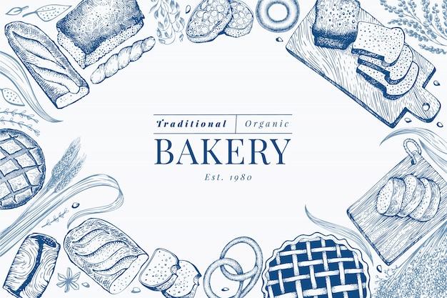 Fundo de quadro de pão e pastelaria. Vetor Premium