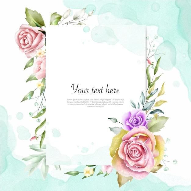 Fundo de quadro floral aquarela Vetor Premium
